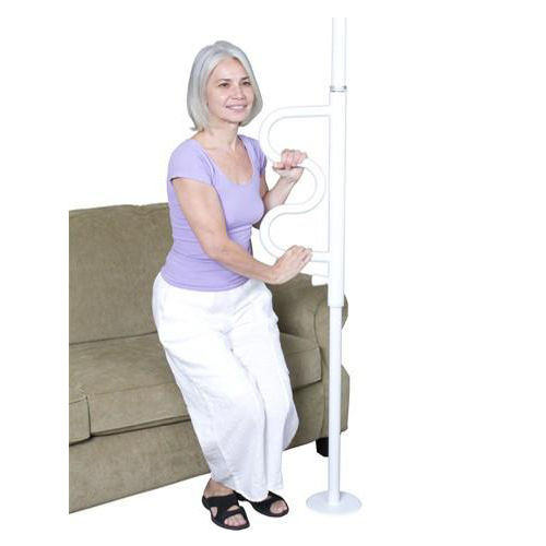 Stander Security Pole With Curve Grab Bar